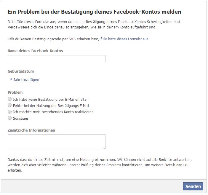 Facebook kontaktieren email