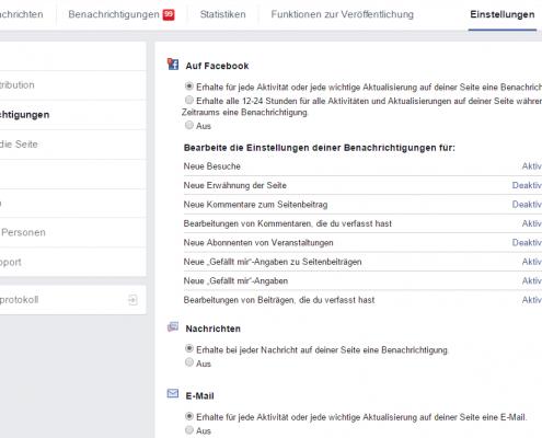 benachrichtigung für Facebook abschalten
