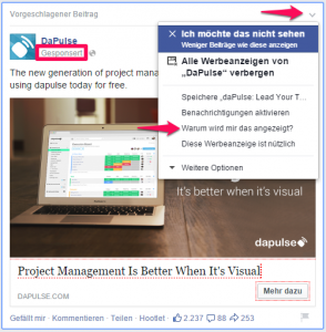 Warum wird mir diese Facebook Werbeanzeige angezeigt