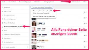 Liste aller Facebook Fans