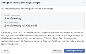 seitennamen ändern auf Facebook