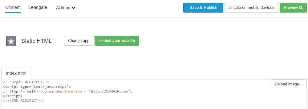 html facebook tab