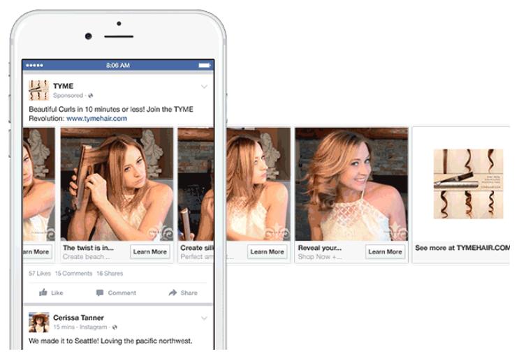 2 karussell Anzeige auf Facebook