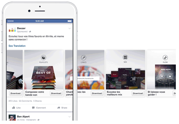 3 karussell Anzeige auf Facebook