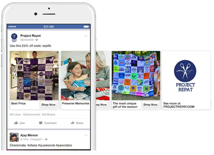 6 karussell Anzeige auf Facebook