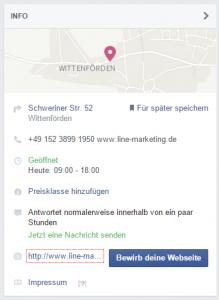 Facebook Info - Lokales Unternehmen