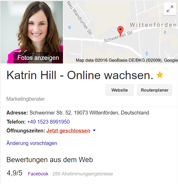Facebook Bewertungen in der Google-Suche