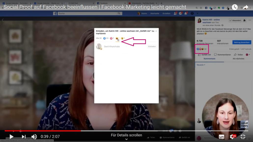 Auswahl Emojis unter Facebook-Beitrag identifizieren